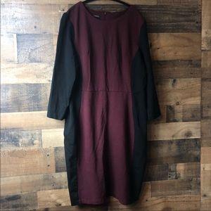 Talbots Burgundy & Black Professional Dress